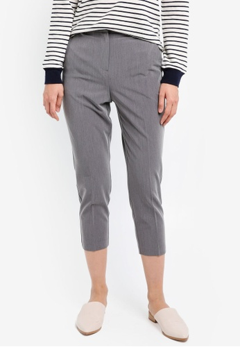 TOPSHOP grey Petite High Waist Cigarette Trousers TO412AA0SIWVMY_1