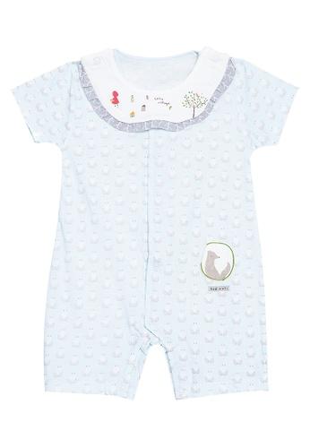 MICK + MARTY blue Printed Onesie with Detachable Bib Collar E206BKA5EDC412GS_1