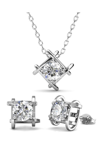 Her Jewellery silver Roxy Set (White Gold) (Necklace   Earrings) - Crystals 630f17bf719d