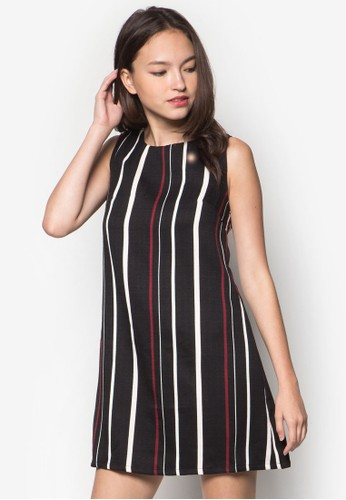 Agatha 條紋直筒連身裙, 服飾,zalora退貨 正式洋裝