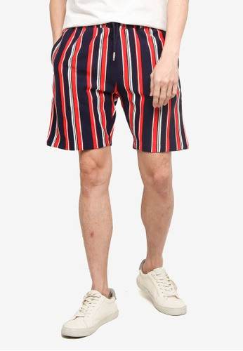 Topman multi Navy and White Striped Shorts 66B98AA01B5D81GS_1