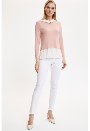 DeFacto pink Woman Knitted Long Sleeve T-Shirt F04E1AAFB79723GS_1