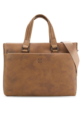 Volkswagen brown Genuine Leather Tote Bag VO089AC39MVGMY_1