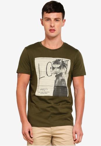 Jack & Jones 綠色 短袖印花T恤 7BD9AAAB4593E8GS_1