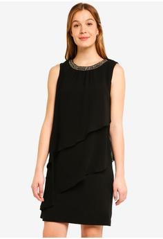 94237ff7f22 Wallis black Black Embellished Tiered Overlay Shift Dress 66CF8AAF887114GS 1