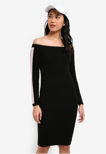 Something Borrowed black Knitted Contrast Stripe Bodycon Dress 79E59AA33B82C2GS_1