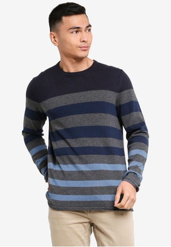 Only & Sons navy Don Striped Crew Neck Pullover 88C57AA32E7574GS_1
