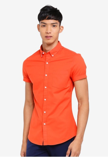 Topman orange Orange Oxford Short Sleeve Shirt 393ECAAD4A9306GS_1