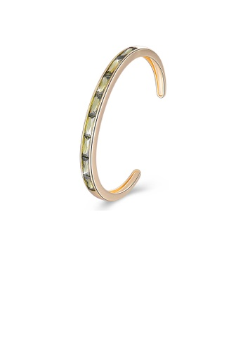 Glamorousky green Fashion Plated Champagne Gold Open Bangle with Green Cubic Zircon FDAB9AC4C5A4B2GS_1