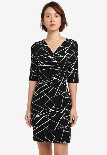 ZALORA black Draped Sheath Dress 9C6D7AA0F156F3GS_1