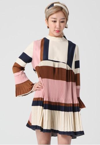 韓流時尚 長袖百esprit 尺寸褶連衣裙 F4118, 服飾, 及膝洋裝
