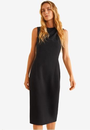 Mango 黑色 無袖褶飾洋裝 7BAB2AA47DC43EGS_1