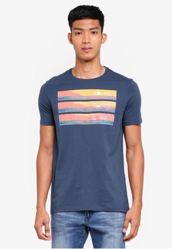United Colors of Benetton 藍色 夕陽圖案標語短袖T恤 DB22BAAEC204DDGS_1