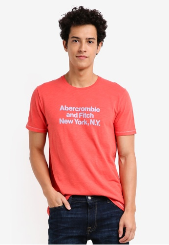Abercrombie & Fitch red Print Logo Color T-Shirt 66DEAAA6BE6153GS_1