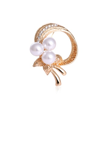 Glamorousky white Elegant and Simple Plated Gold Floral Imitation Pearl Brooch with Cubic Zirconia 7DD9BAC0DED873GS_1