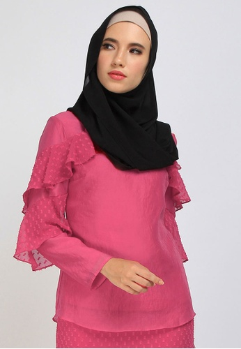POPLOOK pink Cristal Fluted Ruffle Blouse 40FF8AA301C2EFGS_1