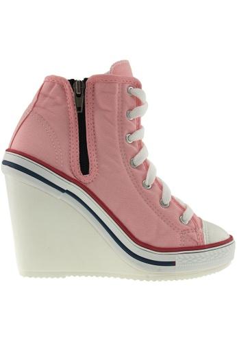 Maxstar pink Maxstar Women's 777 Side Zipper Canvas High Wedge Heel Sneakers US Women Size MA164SH39PSUSG_1