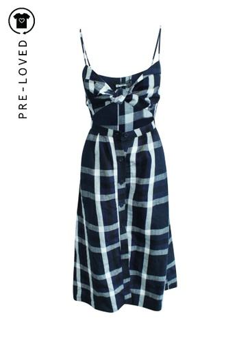Reformation blue Pre-Loved reformation Midi Checked Dress with Front Tie 1A1B5AAE1F419FGS_1