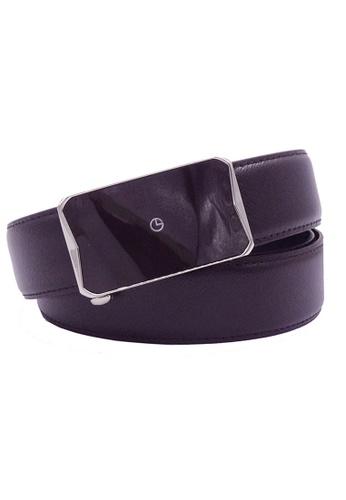 Goldlion brown Goldlion Men Leather Auto-Lock Buckle Belt - Dark Brown 28AEDAC28D6DA9GS_1