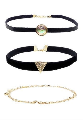 LUCCACAL black 3 x Luna Chokers Set CA1A1AC60DDA7BGS_1