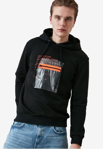 Trendyol black Printed Regular Fit Hoodie E9B28AA193466CGS_1