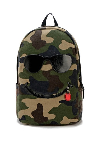 LULUGIFT Military Pattern Smile Backpack Design LU989AC41YHUMY_1
