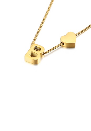 Glamorousky silver Fashion and Simple Plated Gold Heart-shaped English Alphabet B 316L Stainless Steel Pendant with Necklace 89F50AC04AB6FEGS_1