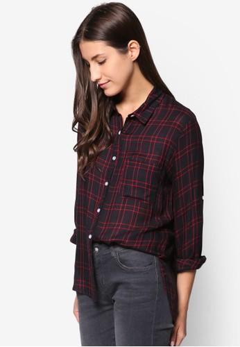 esprit 高雄寬版格紋長袖襯衫, 服飾, 襯衫