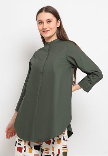The Executive green 3/4 Sleeve Tunic DA7DFAADEC7A8EGS_1