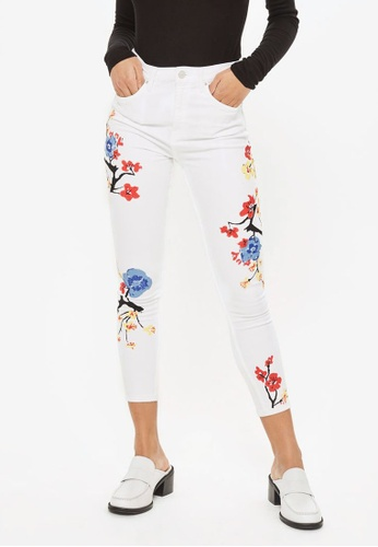 TOPSHOP white MOTO Floral Print Jamie Jeans TO412AA0ROUJMY_1