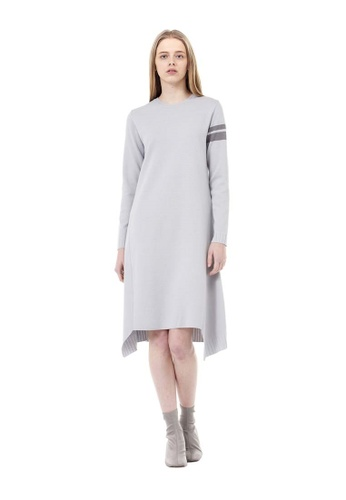 VOV(Voice of Voices) grey Grey Asymmetric Dress With Colour-Contrasting Cuffs F9790AA1EB4E5BGS_1