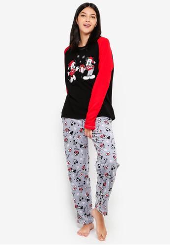 OVS black and white and multi Black Pyjama Set With Disney Print CEB25AA7CEF436GS_1