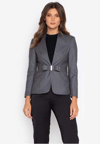 Well Suited grey Fitted Buckle Waist Woolen Blazer 46D71AAB07A4A2GS_1