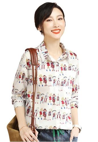 A-IN GIRLS white Cartoon Print Long Sleeve Shirt E3763AAF715D80GS_1