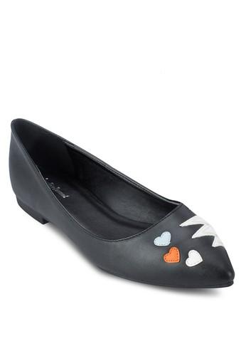 爆炸心形圖案尖頭平底鞋, 女鞋esprit home 台灣, 芭蕾平底鞋