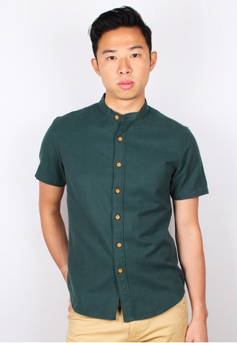 Moley green Classic Mandarin Collar Short Sleeve Shirt ADD15AA1E0F48DGS_1