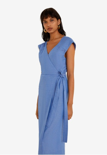 Mango blue Bow Wrap Jumpsuit 47AC5AA08E4C61GS_1