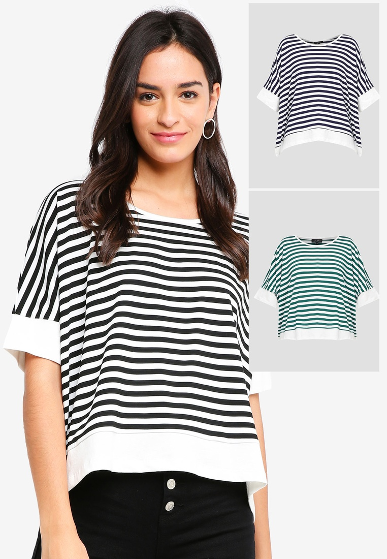 Sleeves BASICS Stripe pack 2 Top Teal Stripe and White Hem ZALORA Black Basic Contrast White 6XdCpdqw