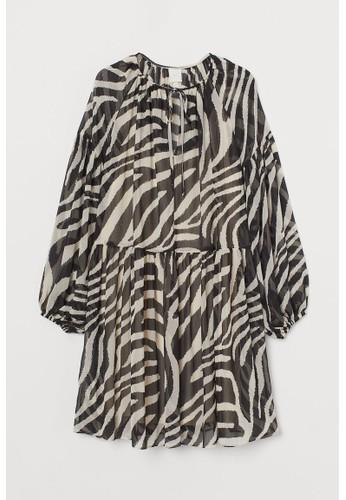H&M black Chiffon dress 2ADA2AA7FBCF5FGS_1