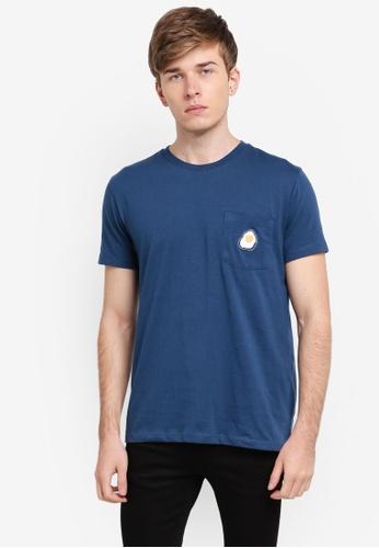 Penshoppe 海軍藍色 美式休閒條紋T恤 PE124AA0SN1LMY_1