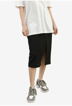 online retailer b6d5d 14cfe NAIN black Linen Side Slit Pencil Skirt 6F7BDAA7706E15GS 1