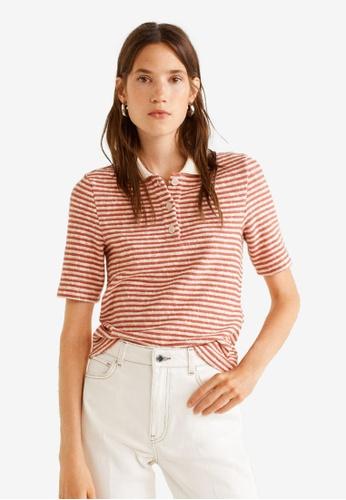 Mango orange Striped Cotton Polo Shirt 7DCFEAAA2CE88FGS_1