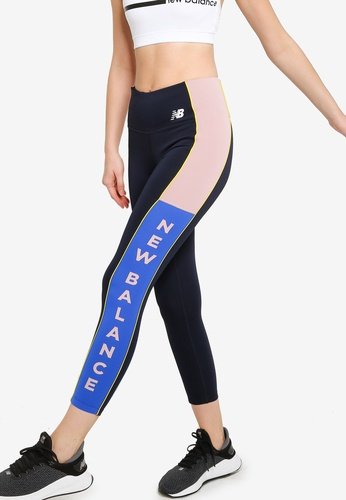New Balance navy Printed Velocity 7/8 Tights BE0C3AAF569265GS_1