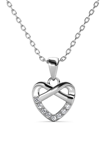 Her Jewellery silver Tie Pendant (White Gold) - Made with premium grade crystals from Austria C69D5ACB4D915DGS_1