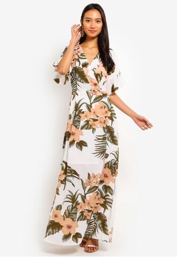 Mela London white and multi Tropical Pastel Print Dress C8101AAD4FE44AGS_1