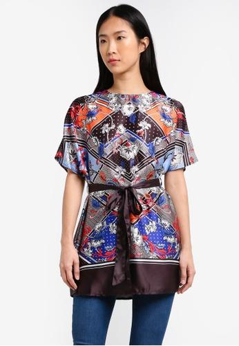 Dorothy Perkins black Black Floral Tie Waist Tunic DO816AA0RP3RMY_1