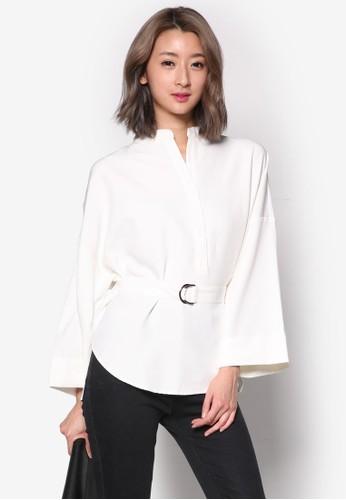 立領寬袖腰帶長袖上衣, esprit outlet台北服飾, 簡約優雅風格