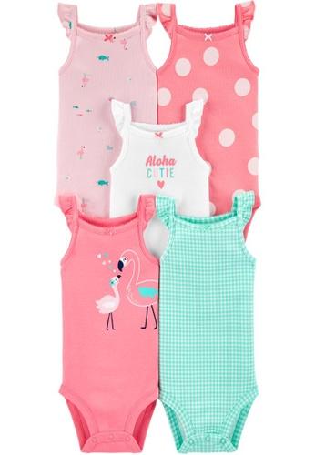 Carter's multi CARTER'S Girl 5 Pack Pastel Sleeveless Bodysuit 62BDCKAAF02967GS_1