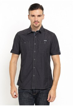 harga LGS - Slim Fit - Kemeja Fashion - Double Pocket - Hitam Zalora.co.id