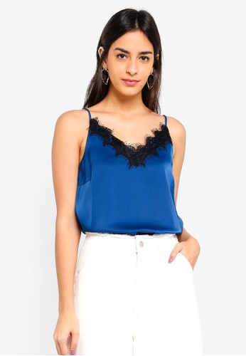 Vero Moda blue and multi Fanni Lace Singlet Top 4BA90AAEA332BCGS_1